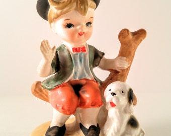 Vintage Made in Japan Hummel-Like Boy with Dog Porcelain Figurine. Mid Century Kitsch.
