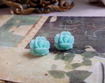 Aqua blue rose Flower Cabochon earrings Lucite flower stud earrings Titanium Post made in USA