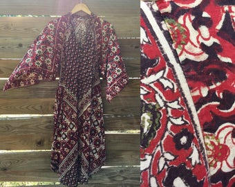 Gorgeous 1970s Phool Hand Blocked Indian Cotton Caftan RESERVED RESERVED RESERVED
