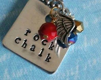 "KU Jayhawks ""Rock Chalk"" Necklace - Hand Stamped"