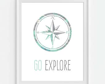 Compass Art Print, Go Explore, Nautical Decor, Vintage Map Art, Travel Wall Decor, Nautical Wall Art, Gift For Friend, Travel Gift