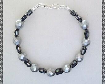 Grey bracelet, Silver bracelet, silver and black, black and silver, black