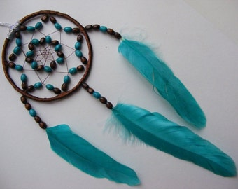Wooden MINI Brown & Turquoise Dreamcatcher Catcher Rear View Mirror