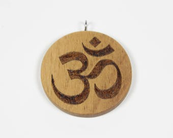 Wooden Om Pendant, Om Necklace, Wooden Aum Pendant, Om Symbol, Yoga Symbol, Wooden Pendant, Pyrography, Spiritual Pendant, Personalized