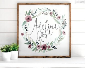 Custom Floral Sign | FREE SHIPPING | Personalized Name Sign | Lavender | Farmhouse Wood Sign | Shabby Chic | 12x12 | 23x23 | 29x29 | 35x35