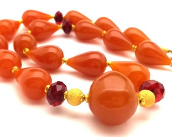 Necklace Vintage Butterscotch Amber Pressed Resin Caramel Red Faceted Austrian Crystals Beads Handmade