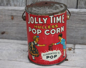 Jolly Time Hulless Popcorn Tin Pail with Lid from 1920s
