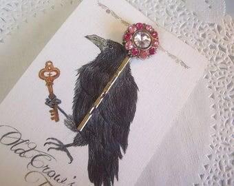 Rhinestone Hair Pin (322) - Two-toned Pink Rhinestone Hair Pin - Jeweled Hair Pin - hair accessories