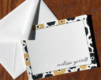 Black and Camel Artistic Floral Correspondence Cards Personalized Stationery Gift Set, Stationery Set Personalized mothers days gifts ideas
