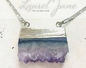 Laurel Jane — raw crystal amethyst necklace, silver plated, electroplated ultra long layering, boho minimalist nashville gypsy healing folk