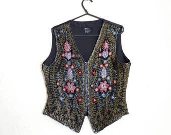 Monsoon Twilight 1980's vintage waistcoat 80's beaded waistcoat vintage evening/party waistcoat hook fastening size 12