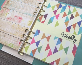A5 planner weekly inserts colorful - hard copy