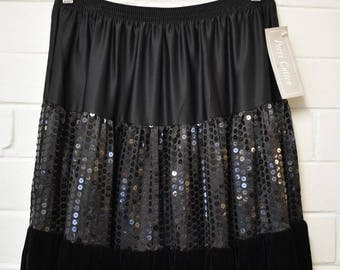 Perri Cutten Vintage 1980s Party Skirt Size 8 10 12 RRP 249 Long Black Maxi deadstock NWT