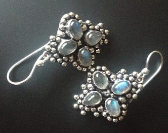 Blue Labradorite Dangle Earrings, Vintage Labradorite- Labradorite Earrings-Blue Labradorite-Silver Moonstone Earrings, Quality Labradorite