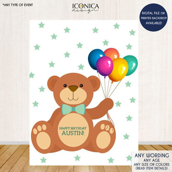 Teddy Bear First Birthday Banner Party Backdrop
