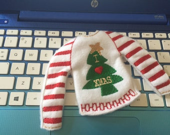 Elf sweaters. I  love xmas sweater. Barbie sweater. Christmas doll sweater. 12 inch doll clothes.
