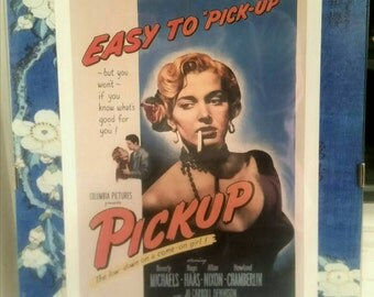 Vintage B Movie PINUP Framed Print PICKUP 50s Film Noir Matted Picture Frame Sexy Pin Up Bombshell Blue Rec Room Man Cave Gift Home Decor