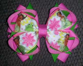 Princess Tiana Handmade Pink Green Stacked Boutique Bow