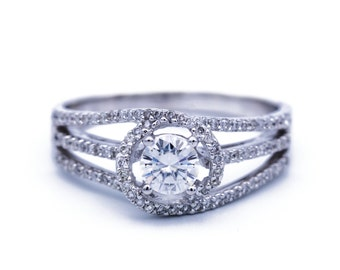 5mm Charles and Colvard Forever One Colorless Moissanite and Diamond 14K White Gold Ring 1 Carat Total Weight