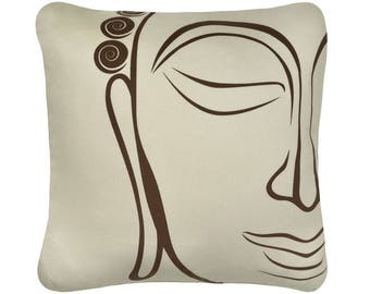 ON SALE-Buddha Organic Cotton Throw Pillow Cover, Orange Pillow, Purple Pillow, Beige Pillow, Decorative Pillows, Asian, 18 x 18 Inch