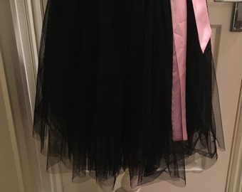 Black tutu tulle full skirt one size womens with pink sash