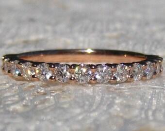 Moissanite Wedding Ring, Rose Gold Wedding Band