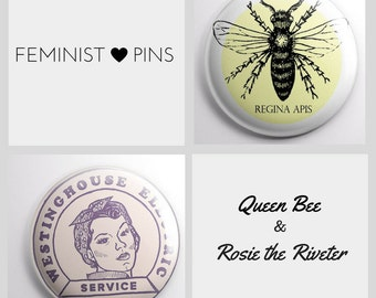 Vintage Style Feminist Pins (set of 2) - Vintage Rosie the Riveter Pin & Queen Bee Pin