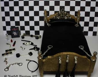Dollhouse Miniature Sex Toys BDSM Bondage Fetish Leather Bed  in 1:12 scale 18+