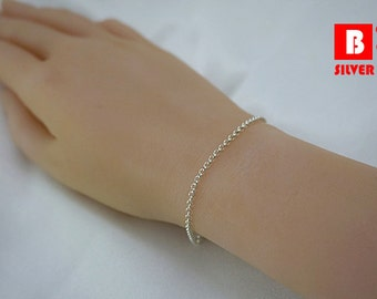 925 Sterling Silver Bracelet, Rollo Chain (Code : YR1)