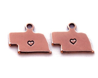 2x Rose Gold Plated Nebraska State Charms w/ Hearts - M132/H-NE