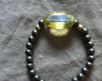 Oxidized Silver Bead Stretch Bracelet with Large Citrine