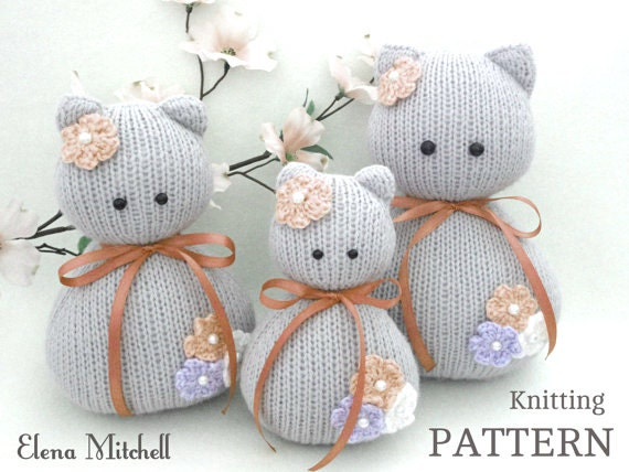 Cat Design Knitting Pattern : Knitting PATTERN Animal Knit Pattern Cat Animal Patterns