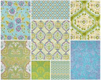 DENA DESIGNS Ikat Tangier Collection Fat Quarter Bundle (8fq's)  Free Spirit Fabric Purple, Lavender, Yellow, Green