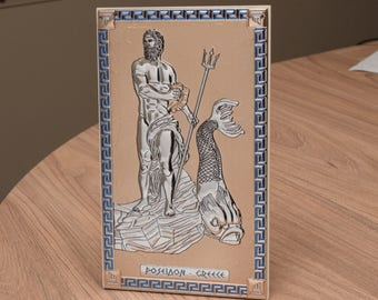 POSEIDON Greek God Statue Silver 925 Decorative on Wood Figurine - Desk Plaque or Wall hang