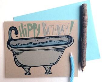 Hippy Bathday Greeting Card