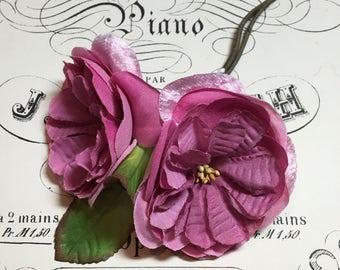 Vintage pink millinery flowers