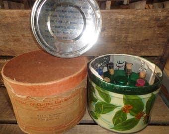 Vtg.*Antique*Coffee Tin Can*New York*Exhibit*Coffee Bureau*w/Shipping Box*Glass Vials*Coffee Bean Samples*Pamphlet*Caddy*1939 Worlds Fair?