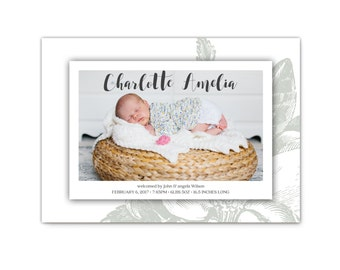 Baby Girl Birth Announcement // Photo Birth Announcements // Baby Announcements // Printable Photo Baby Announcement Cards // The Charlotte