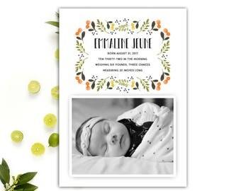 Photo Baby Announcement // Birth Announcement Baby Girl // Photo Birth Announcement Cards // Printable Birth Announcement // The Emmaline