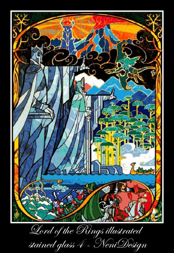 Lord Of The Rings Illustrated In Stained Glass 4 Cross