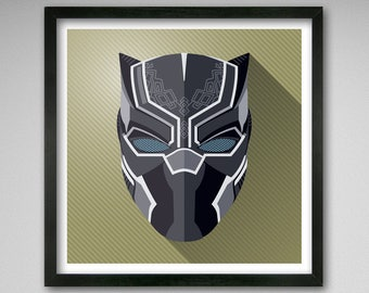 8x8 Black Panther from Avengers - Icon Style print
