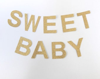 SWEET BABY Gold Glitter Bunting Garland. Baby Shower banner decoration (other colours available)