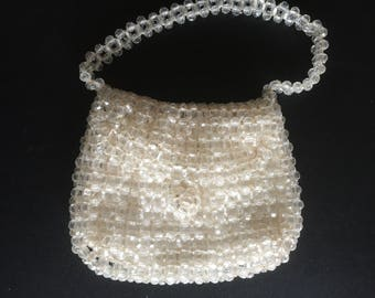 One Only************Rare & Very Beautiful Authentic Vintage Crystal Bead  60's Evening Bag