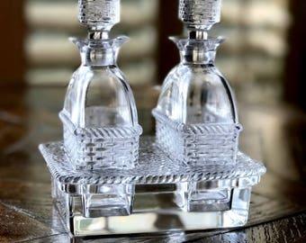 Rare Vintage Lalique Bangkok Crystal Cruet Set Basketweave Design-Signed & Mint