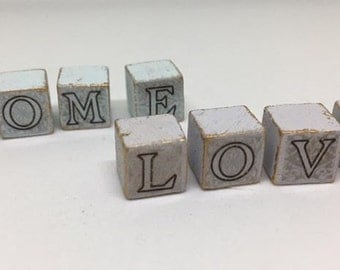 Handmade miniature dolls house accessory modern wooden word block ornament. Various colours and words available