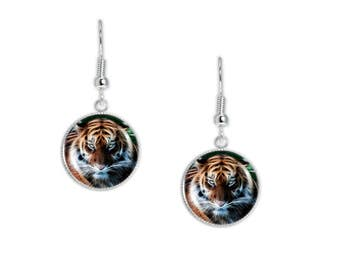 """Tiger Portrait Flame Effect Style Illustration Dangle Earrings 3/4"""" Artwork Charms in Silver Tone"""