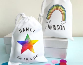 Gift Bags Personalised Party Bags Favour Bags for Boys and Girls Party Supplies Colourful Rainbow and Star Designs