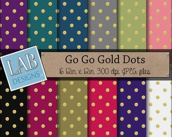 Gold Dots Digital Paper - Glitter Polkadot Pattern - Digital Paper - Instant Download Seamless Printable Background for Personal Use
