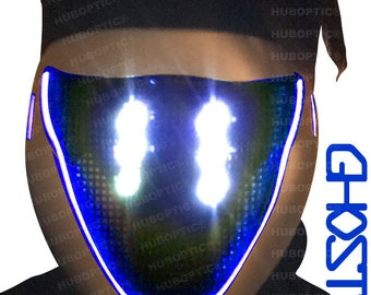 Ghost Mask FX - Blue LED Light Up Mask - DJ Mask Rave Robot Mask Sound Reactive Mask for Cyborg Cosplay Ghost Shell Mask Party Costume