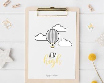 A4 Wall Art Print | Aim high